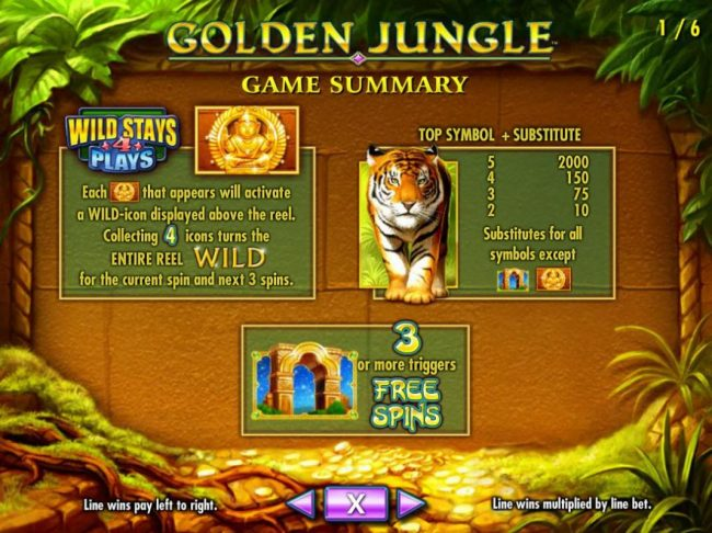 Caesars featuring the Video Slots Golden Jungle with a maximum payout of $250,000