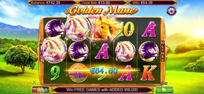 Jackpot City featuring the Video Slots Golden Mane with a maximum payout of $15,000