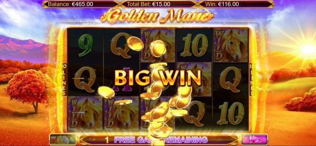 Euro King featuring the Video Slots Golden Mane with a maximum payout of $15,000