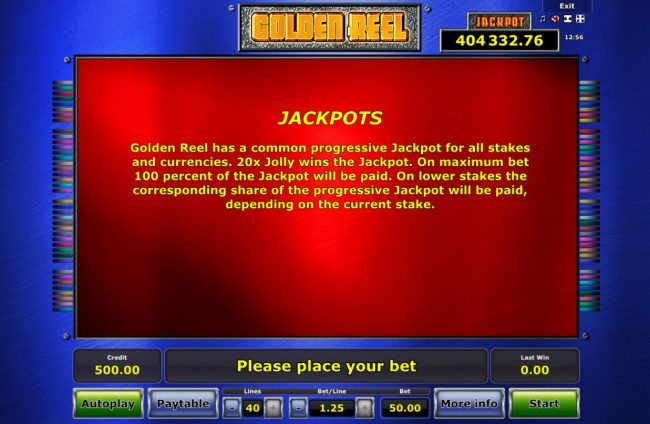 Energy featuring the Video Slots Golden Reel with a maximum payout of Jackpot