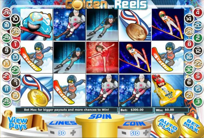Miami Club featuring the Video Slots Golden Reels with a maximum payout of $100,000