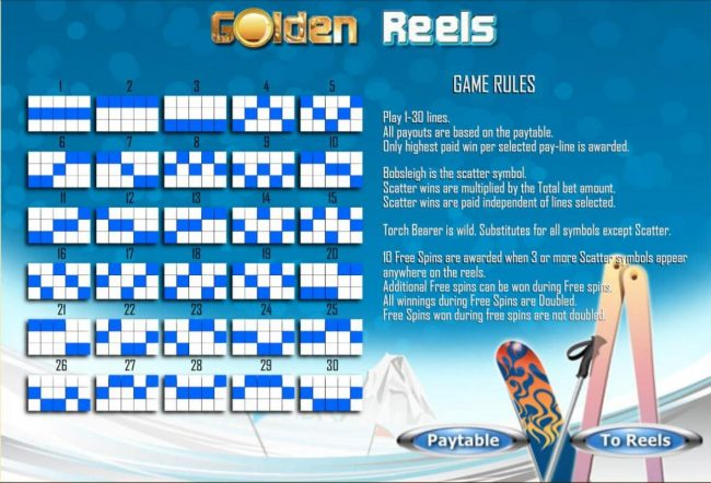Golden Reels :: General Game Rules and Payline Diagrams 1-30