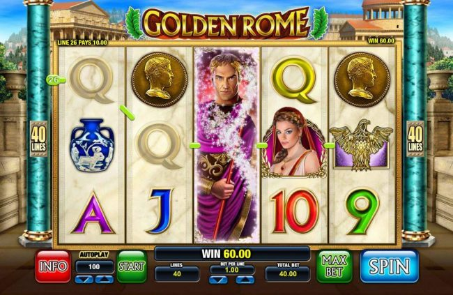Royal House featuring the Video Slots Golden Rome with a maximum payout of $5,000
