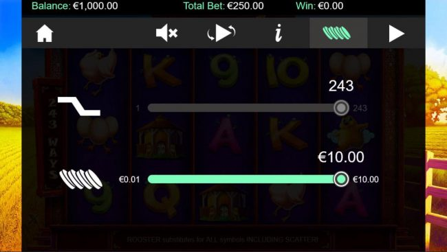 Dublinbet featuring the Video Slots Golden Rooster with a maximum payout of $250,000