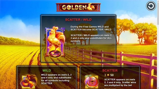 Sapphire Rooms featuring the Video Slots Golden Rooster with a maximum payout of $250,000