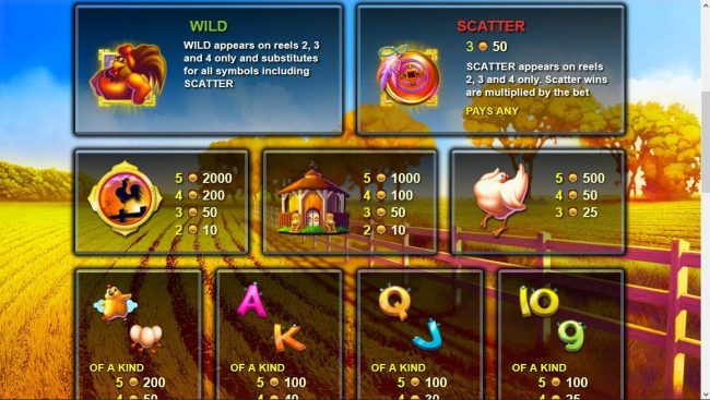 High value slot game symbols paytable featuring farm themed icons