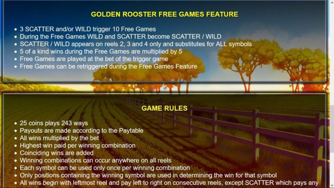 All Irish featuring the Video Slots Golden Rooster with a maximum payout of $250,000