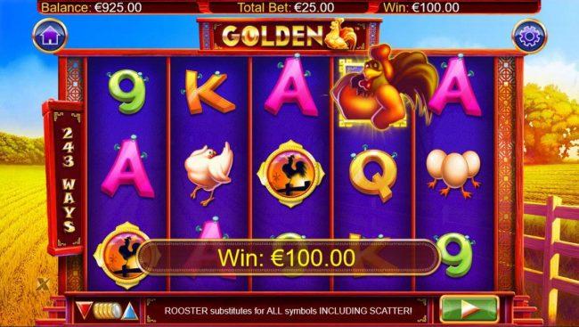 A winning Five of a Kind leads to a 100.00 jackpot.