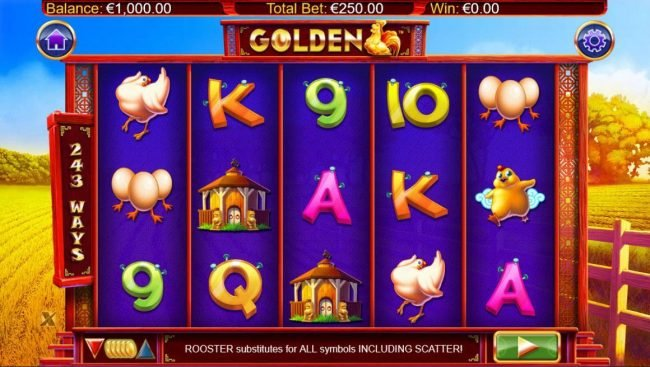 A chicken farm themed main game board featuring five reels and 243 ways to win with a $250,000 max payout