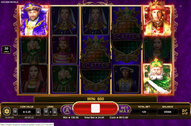 Play slots at Casino Dingo: Casino Dingo featuring the Video Slots Golden Royals with a maximum payout of $100,000