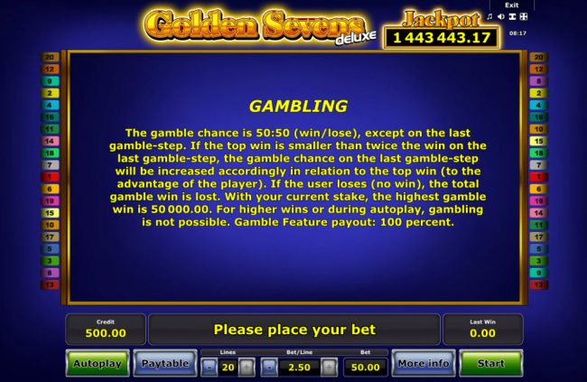 Golden Sevens Deluxe :: Gamble Feature Rules