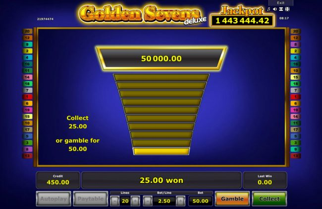 Golden Sevens Deluxe :: Ladder Gamble Feature Game Board