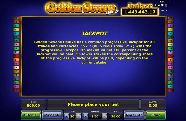 Golden Sevens Deluxe :: Jackpot Rules