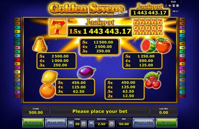 Golden Sevens Deluxe :: Paytable