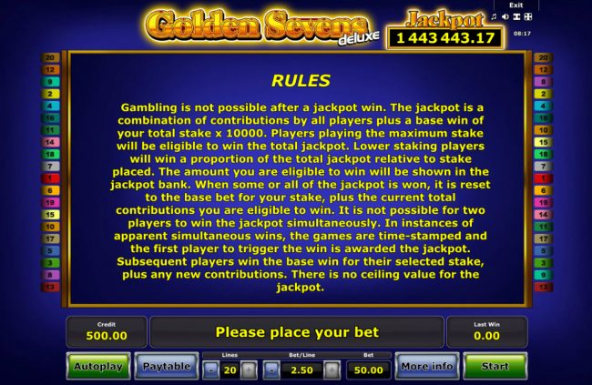 Golden Sevens Deluxe :: General Game Rules