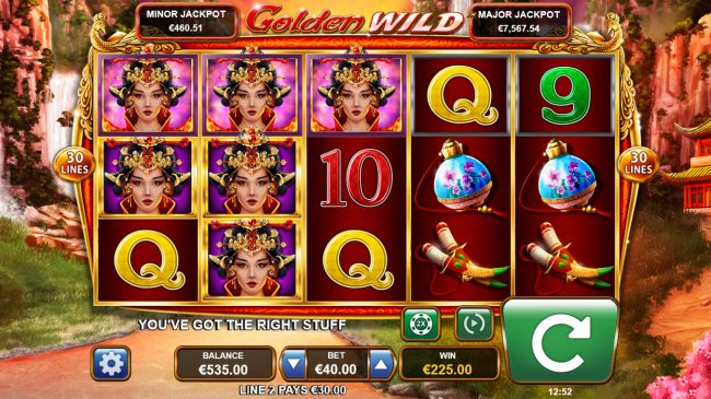 Lightbet featuring the Video Slots Golden Wild with a maximum payout of $90,000
