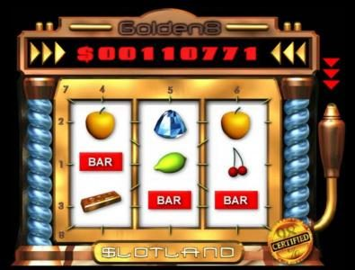 Slotland featuring the Video Slots Golden 8 with a maximum payout of $1,500