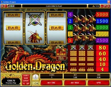 Play slots at CasinoUK: CasinoUK featuring the Video Slots Golden Dragon with a maximum payout of $25,000