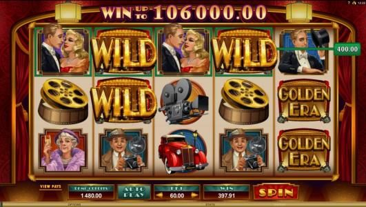 Vegas Paradice featuring the Video Slots Golden Era with a maximum payout of $106,000