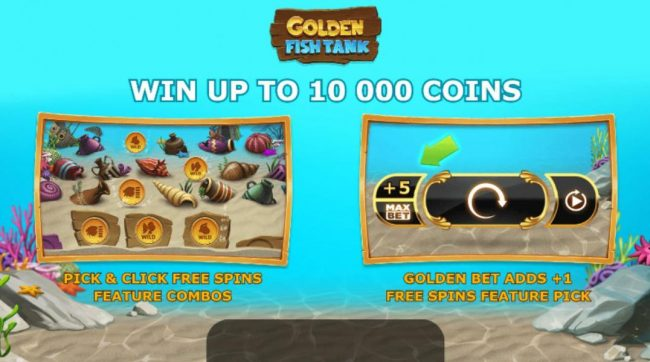 Play slots at Videoslots: Videoslots featuring the Video Slots Golden Fish Tank with a maximum payout of $50,000
