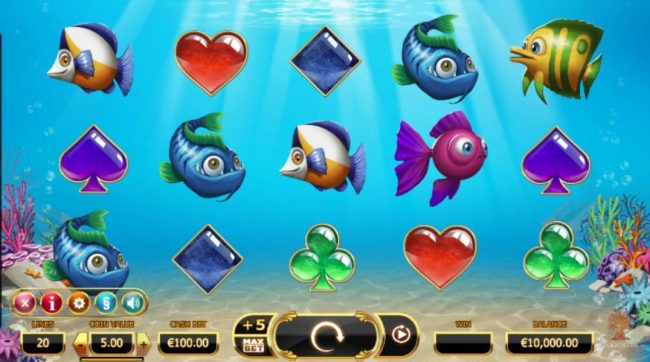 Golden Fish Tank :: Main game board featuring five reels and 20 paylines with a $50,000 max payout