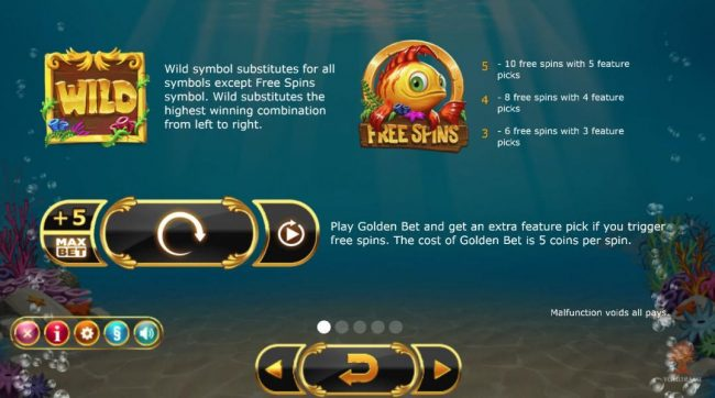 Golden Fish Tank :: Wild and Scatter symbols paytable. Play Golden Bet and get an extra feature pick if you trigger free spins.