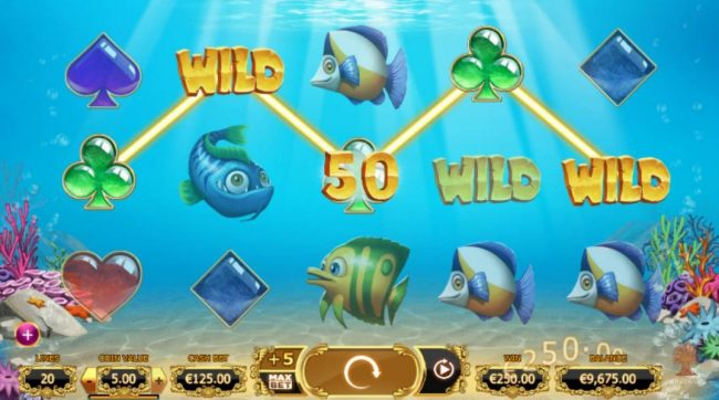 Golden Fish Tank :: A four of a kind triggers a 250.00 line payout