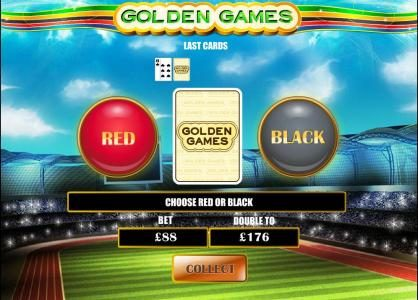 during the gamble feature you select red or black to double your bet