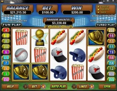 Play slots at Cafe: Cafe featuring the Video Slots Golden Glove with a maximum payout of $250,000
