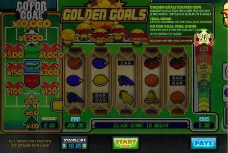 Vbet Casino featuring the Video Slots Golden Goals with a maximum payout of $100,000