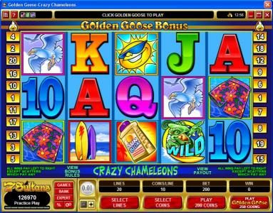 Play slots at King Neptunes: King Neptunes featuring the Video Slots Golden Goose - Crazy Chameleons with a maximum payout of $10,000