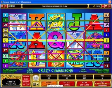 18 Bet featuring the Video Slots Golden Goose - Crazy Chameleons with a maximum payout of $10,000