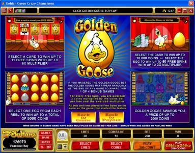King Billy featuring the Video Slots Golden Goose - Crazy Chameleons with a maximum payout of $10,000