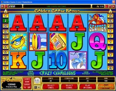 Golden Tiger featuring the Video Slots Golden Goose - Crazy Chameleons with a maximum payout of $10,000