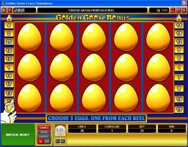 Play slots at Slots Cafe: Slots Cafe featuring the Video Slots Golden Goose - Crazy Chameleons with a maximum payout of $10,000