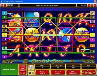Royal Vegas featuring the video-Slots Golden Goose - Genie's Gems with a maximum payout of $16,000