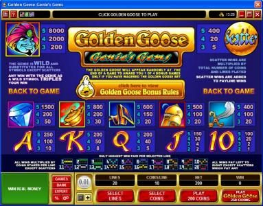 Trada featuring the video-Slots Golden Goose - Genie's Gems with a maximum payout of $16,000