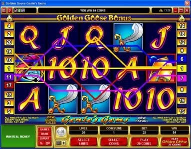 Platinum Play featuring the video-Slots Golden Goose - Genie's Gems with a maximum payout of $16,000