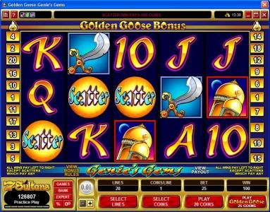 Nostalgia Casino featuring the video-Slots Golden Goose - Genie's Gems with a maximum payout of $16,000