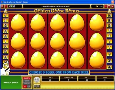 GeoBet featuring the video-Slots Golden Goose - Genie's Gems with a maximum payout of $16,000