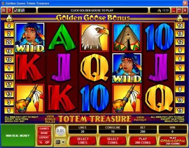 Play slots at Casinia: Casinia featuring the Video Slots Golden Goose - Totem Treasure with a maximum payout of $24,000