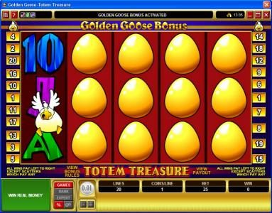 Mummys Gold featuring the Video Slots Golden Goose - Totem Treasure with a maximum payout of $24,000
