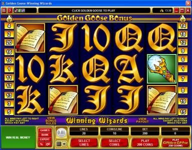Play slots at Fortune Junction: Fortune Junction featuring the Video Slots Golden Goose - Winning Wizards with a maximum payout of $24,000