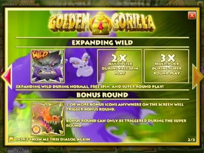 Golden Gorilla :: game features include expanding wild and bonus round