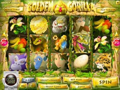 Golden Gorilla :: Main game board featuring five reels and 50 paylines with a $12,500 max payout