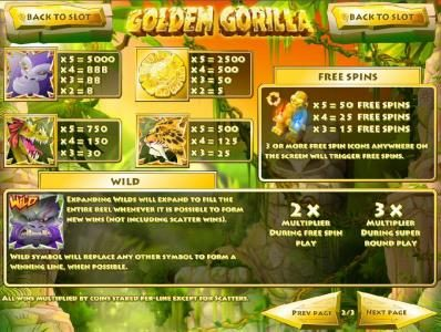 Golden Gorilla :: High value slot game symbols paytable