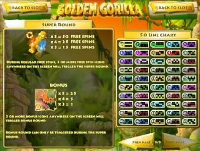Golden Gorilla :: Super Round paytable and Bonus Paytable