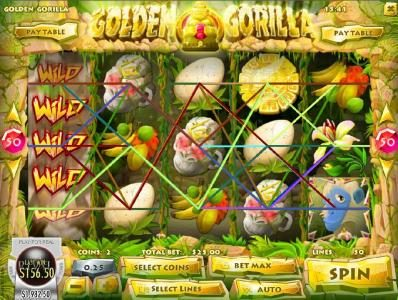 Golden Gorilla :: An expanded wild on reel 1 triggers multiple winning paylines
