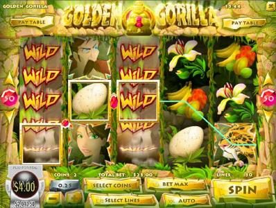 Golden Lion featuring the Video Slots Golden Gorilla with a maximum payout of $12,500