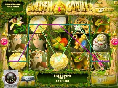 Golden Gorilla :: Multiple winning paylines triggered during the free spins feature.